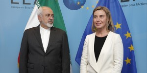 epa04665011 Iranian Foreign Minister Mohammad Javad Zarif (L) is welcomed by the EU High Representative for Foreign Affairs and Security Policy, Federica Mogherini (R) prior a meeting at the European Council in Brussels, Belgium, 16 March 2015. Talks on a nuclear deal with Iran have entered a crucial phase, but there is still a long way to go, top EU diplomats said in Brussels ahead of meetings with Iranian Foreign Minister Mohammad Javad Zarif. Iran and six world powers are stepping up the diplomatic pace this week to reach a framework deal by the end of March.  EPA/JULIEN WARNAND