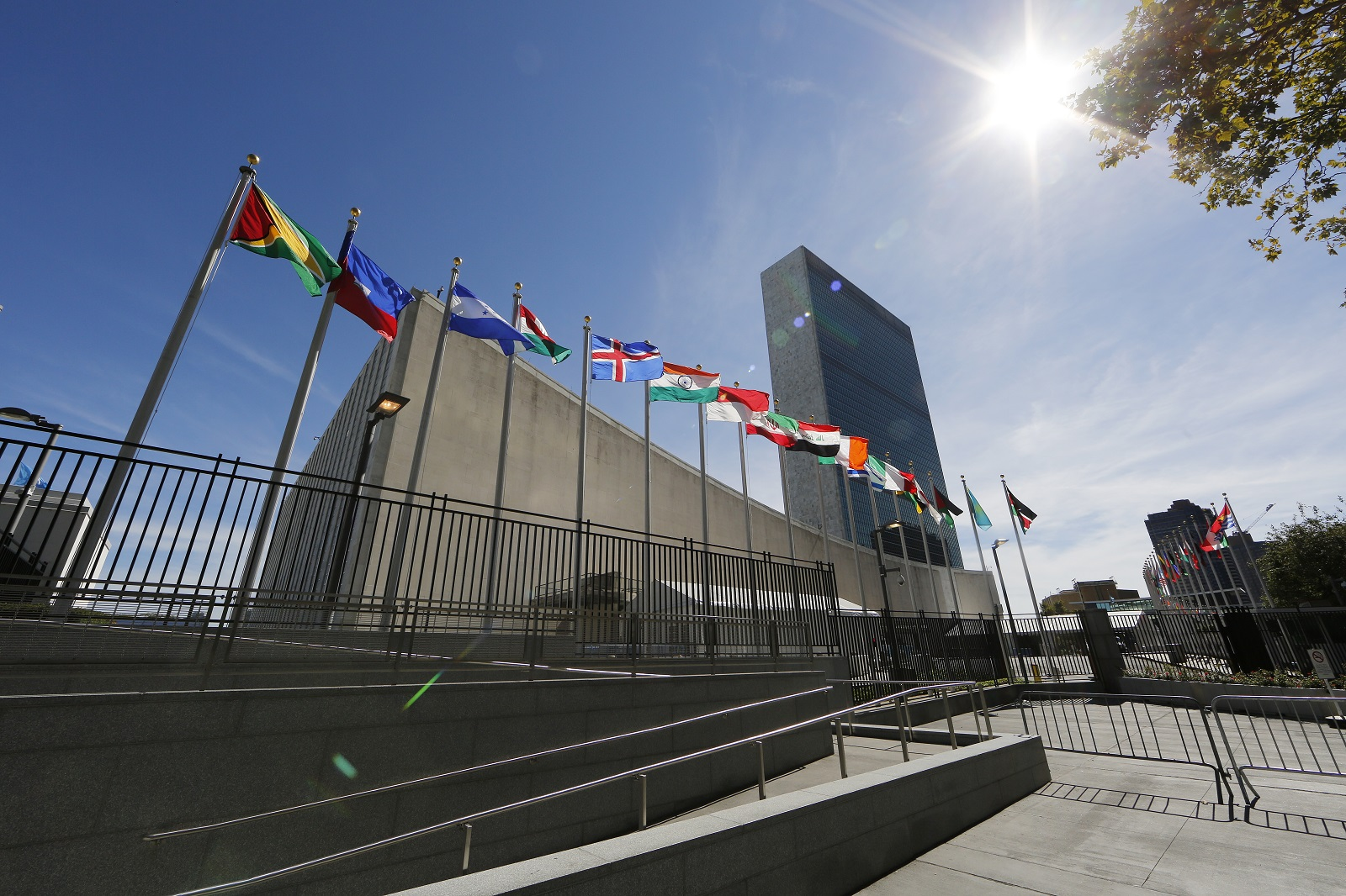 United Nations Headquarters' General Assembly Building (L) and Secretariat Building (R) in New York City, New York, USA, 24 September 2015. Pope Francis will address the UN General Assembly 25 September and the UN Development Summit and General Assembly will take place from 25 September through 03 October with more than 150 heads of state in attendance.