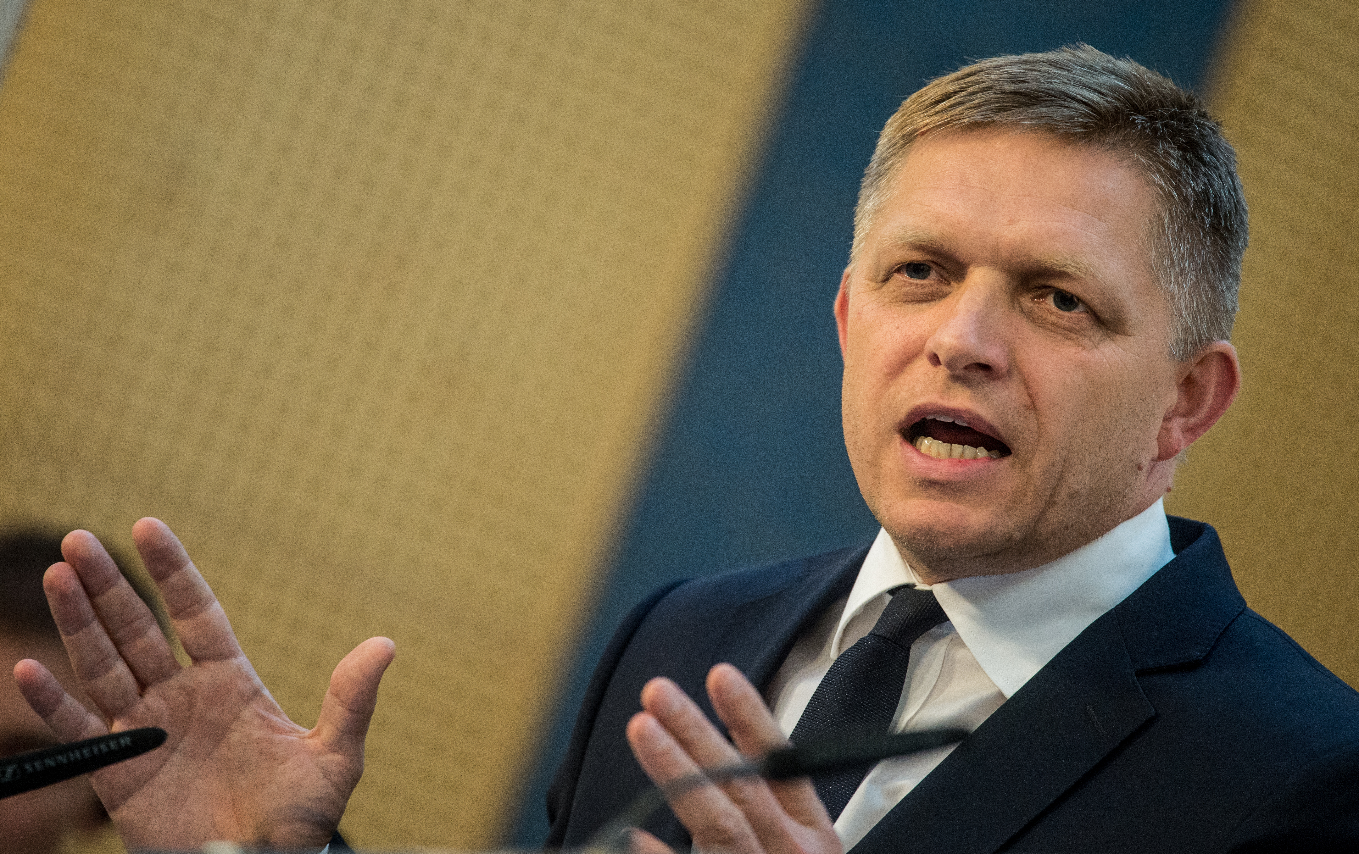 Slovakia Prime Minister Robert Fico gestures during a press conference after the Visegrad Four countries extraordinary summit in Prague, Czech Republic, 04 September 2015. The main purpose of the extraordinary summit of V4 countries is to issue a joint declaration on the course of action V4 countries will take with regard to the current migration crisis in Europe.