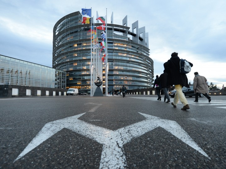 An exterior view of a building of the European Parliament in Strasbourg, France, 14 January 2015. The Louise Weiss building was named after a French writer and European politician.