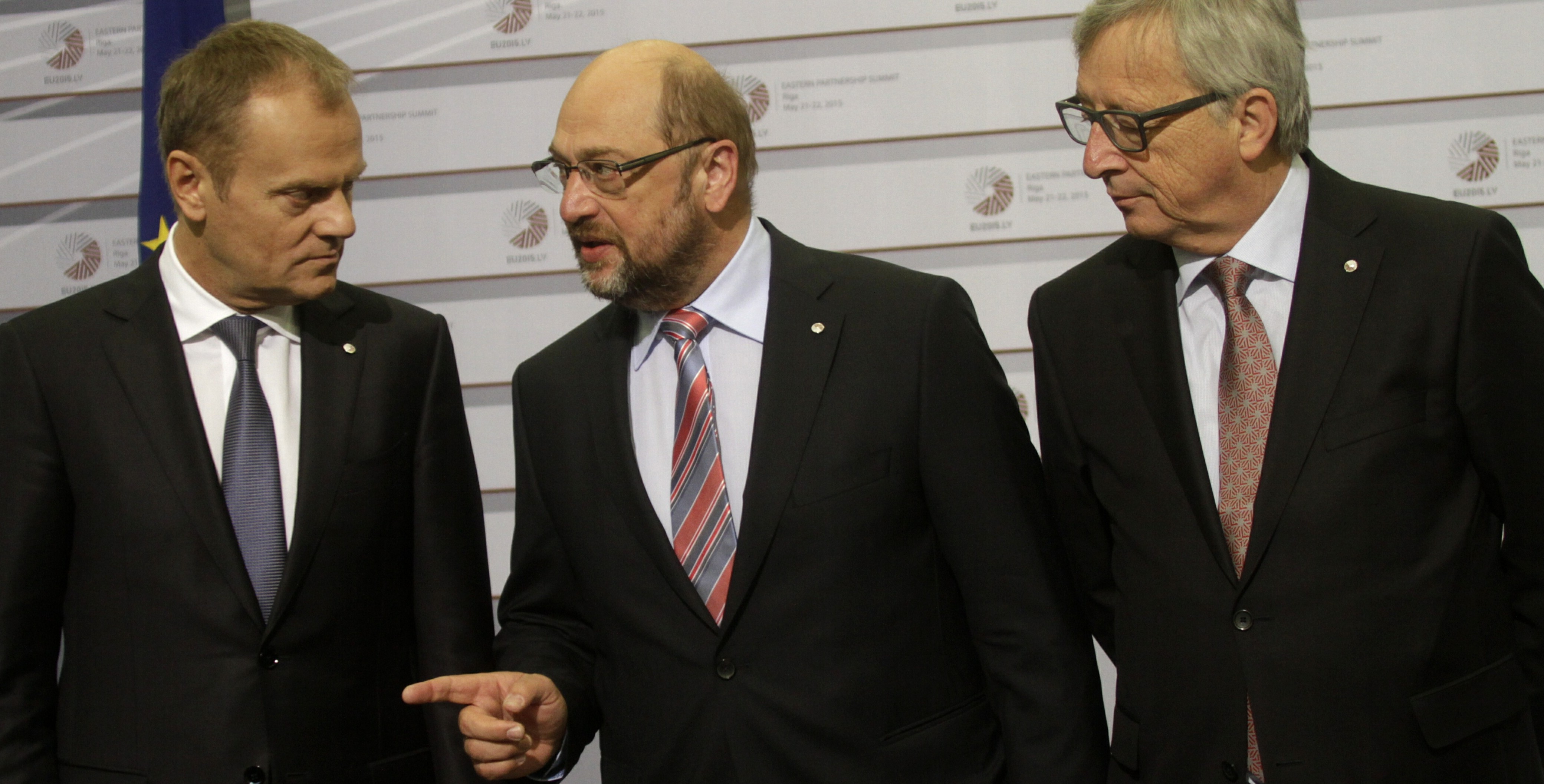 President of the European Council Donald Tusk (L-R), President of the European Parliament Martin Schulz and President of the European Commission Jean-Claude Juncker during arrivals at Eastern Partnership Summit in Riga, Latvia, 22 May 2015.