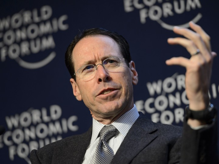A file photo showing Randall Stephenson, Chief Executive Officer of AT&T speaking at the World Economic Forum in Davos (2014). EPA/LAURENT GILLIERON