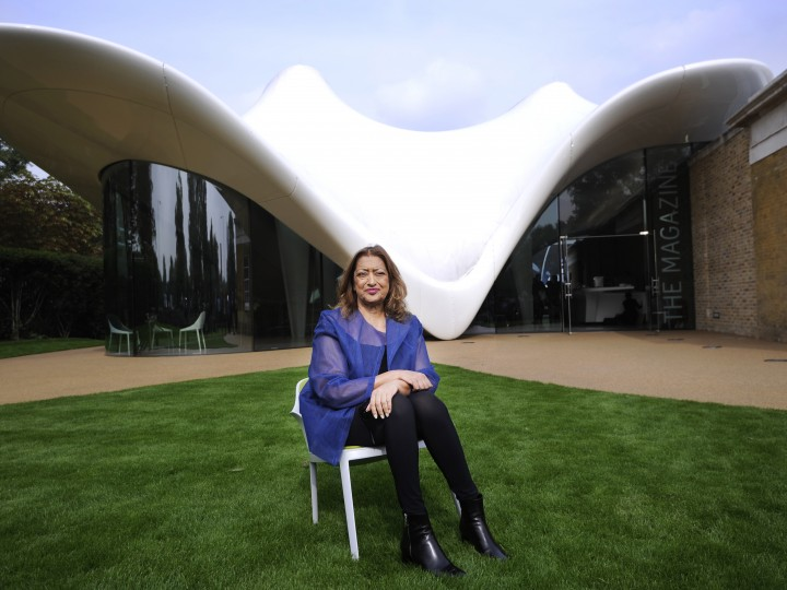 epa03883206 Iraqi-British architect Zaha Hadid poses for photographers in the newly constructed Serpentine Sackler Gallery in Kensington Gardens, in London, Britain, 25 September2013. The renovation of the former 1805 gunpowder store was designed by Zaha Hadid Architects.  EPA/FACUNDO ARRIZABALAGA