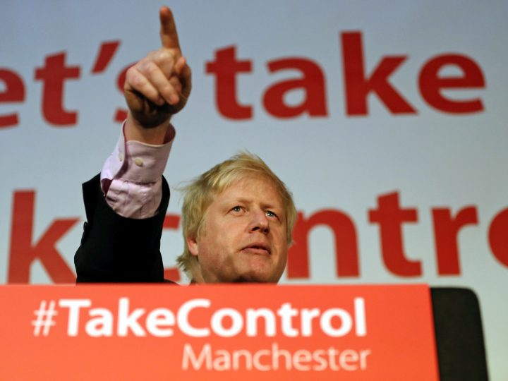 epa05260765 London Mayor Boris Johnson speaks during a 'Vote Leave' campaign event in Manchester, Britain, 15 April 2016. Britain will vote in an European Union referendum on 23 June whether to stay in or to leave the EU.  EPA/NIGEL RODDIS