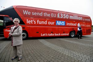epa05299333 The Vote Leave Bus Tour in St Austell, Cornwall, Britain, 11 May 2016. Boris Johnson is supporting the Brexit campaign touring the country with a bus. EPA/STR UK OUT