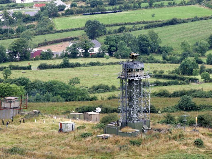 epa000494629 An aerial view of the British Army watchtower post  'Golf One Zero' at Preeve Keernan in South Armagh, Northern Ireland, Monday 01 August, 2005. The Northern Ireland-based battalions of the Royal Irish Regiment are to be disbanded as part of the Army response to the IRA ending its armed campaign.  EPA/PAUL MCERLANE