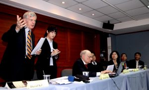 epa03603062 David Kilgour (L), former Canadian parliamentarian and author of the book Bloody Harvest, speaks to media at a news conference as he condemns China harvesting organs from executed prisoners and live Falun Gong members, Taipei, Taiwan, 27 February 2013. Kilgour is in Taipei for the international seminar on overseas human organ transplant, lasting from 25 to 28 February. Every year, some 200 Taiwanese go to China for an organ transplant due to a shortage of donated organs in Taiwan, amid allegations that some of the organs may originate from executed prisoners or live Falun Gong members. On 27 February 2013, Taipei Bar Association issued a statement condemning China harvesting prisoners' organs, and urging Taiwan to enact law to ban Taiwanese from going to China for an organ transplant, thus becoming an accomplice in China's illegal organ trade. EPA/DAVID CHANG