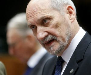 epa05029172 New Polish defense minister Antoni Macierewicz at the start of a European defense ministers meeting in Brussels, Belgium, 17 November 2015. One of the subjects that will be dicussed in the meeting is the Paris attacks that happend on 13 November. EPA/OLIVIER HOSLET