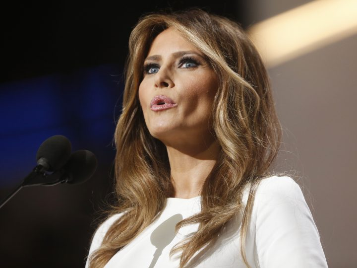 epa05431388 Donald Trump's wife Melania speaks during the second session on the first day of the 2016 Republican National Convention at Quicken Loans Arena in Cleveland, Ohio, USA, 18 July 2016. The four-day convention is expected to end with Donald Trump formally accepting the nomination of the Republican Party as their presidential candidate in the 2016 election.  EPA/MICHAEL REYNOLDS