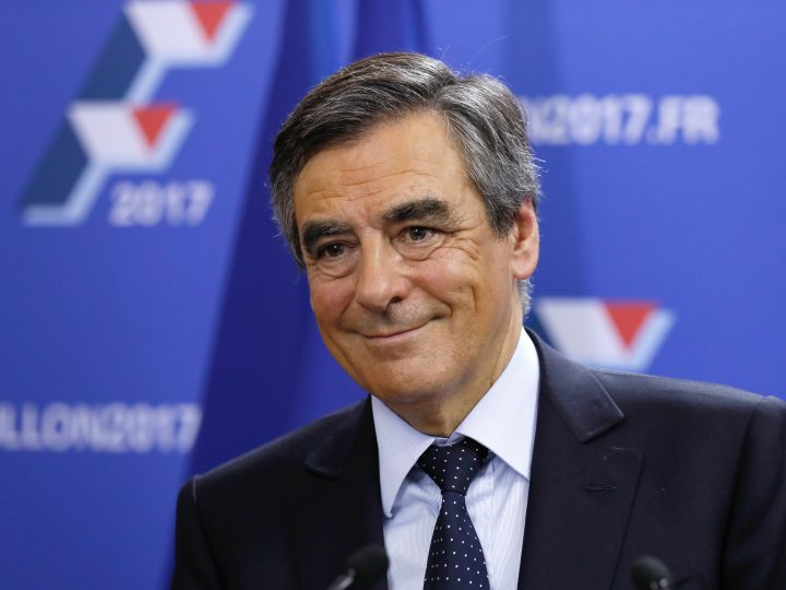 epa05640326 Candidate for the right-wing Les Republicains (LR) party primaries ahead of the 2017 presidential election and former French prime minister, Francois Fillon reacts at his campaign headquarters after finishing first of the first round of the rightwing presidential primary, in Paris, France, 20 November 2016. Francois Fillon took a commanding lead in the two-round primary that is widely expected to decide the country's next leader. The second round will be held on 27 November 2016. Voters are choosing between France's seven centre-right presidential candidates. The next French Presidential elections will take place on 23 April and 07 May 2017.  EPA/THOMAS SAMSON / POOL
