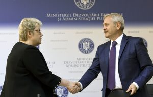 epa05684454 (FILE) A file picture dated 21 May 2015 showing Sevil Shhaideh (L) shaking hands with Liviu Dragnea (R), the leader of PSD (Social Democracy Party), Bucharest, Romania. PSD party won the parliamentary elections held on 11 December, and together with ALDE (The Alliance of Liberals and Democrats in Romania) has the majority in Romanian parliament. PSD leader Liviu Dragnea appointed 21 December 2016 Romanian economist Sevil Shhaideh, 52, as designated Prime Minister. Shhaideh, former Minister of Regional Development and Public Administration in 2015, shall be proposed first by Romania's President, and after that must pass the governing programme through the parliament, before swearing-in as the new premier in charge. EPA/ALEX MICSIK