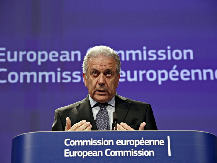 European Commissioner for Migration, Home Affairs and Citizenship Dimitris Avramopoulos addresses a news conference in Brussels, Belgium on Dec. 8, 2016