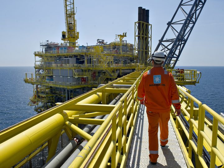 epa04636230 (FILE) A file photo dated 19 June 2012 showing a worker at a oil platform in North Sea RB-PLUS Halfdan oil field of Danish A.P. Moeller Maersk company. The Danish shipping company A.P. Moller Maersk published their financial statements on 25 February 2015 saying 2014 resulted in a profit before tax of 5,311 million US dollars. It is lower than 2013, when the result was 6,620 million US dollars.  EPA/CLAUS FISKER DENMARK OUT