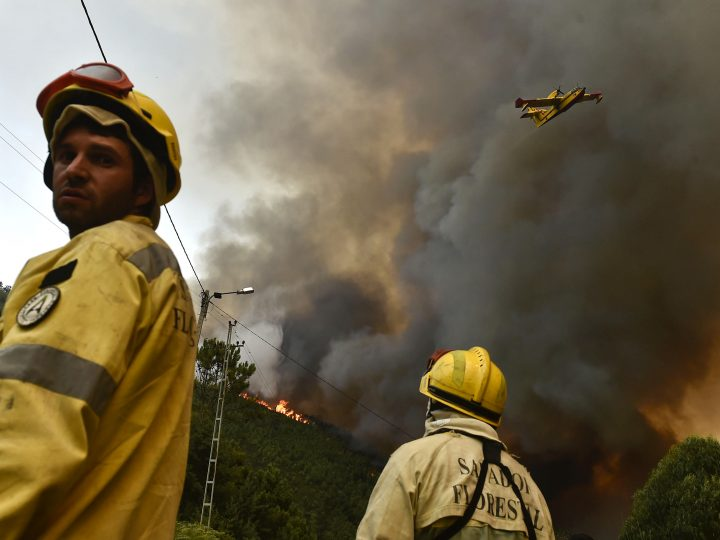 epa05479928 A firefighting plane flies past fire fighters on the ground after dropping water on a forest fire in Macieira de Sul,  S. Pedro do Sul at Viseu district, central Portugal, 13 August 2016.  EPA/NUNO ANDRE FERREIRA