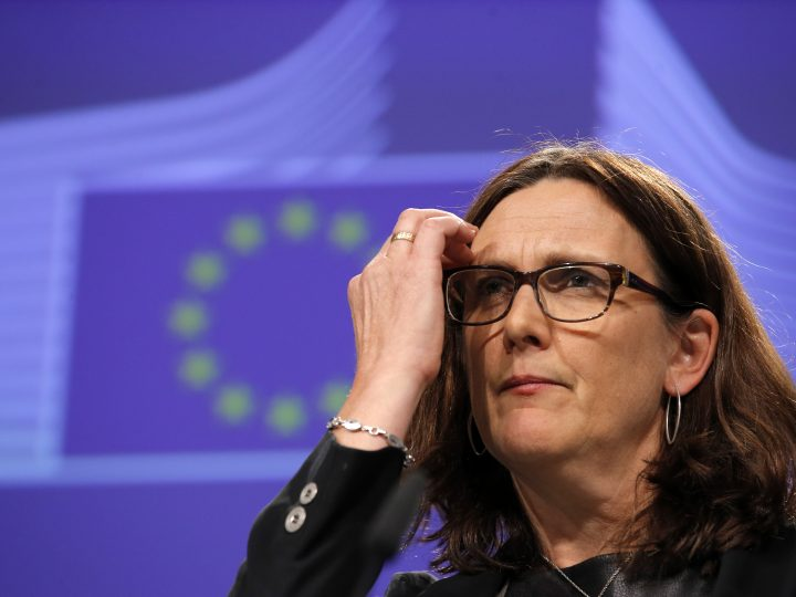 epa05624156 European Commissioner for Trade Cecilia Malmstrom, in charge of the Transatlantic Trade and Investment Partnership (TTIP) trade agreement between USA and EU, attends a news conference following a weekly EU Commission college meeting in Brussels, Belgium, 09 November 2016. US businessman Republican Donald Trump has won the US presidential election. Americans voted on Election Day to choose the 45th President of the United States of America to serve from 2017 through 2020.  EPA/OLIVIER HOSLET