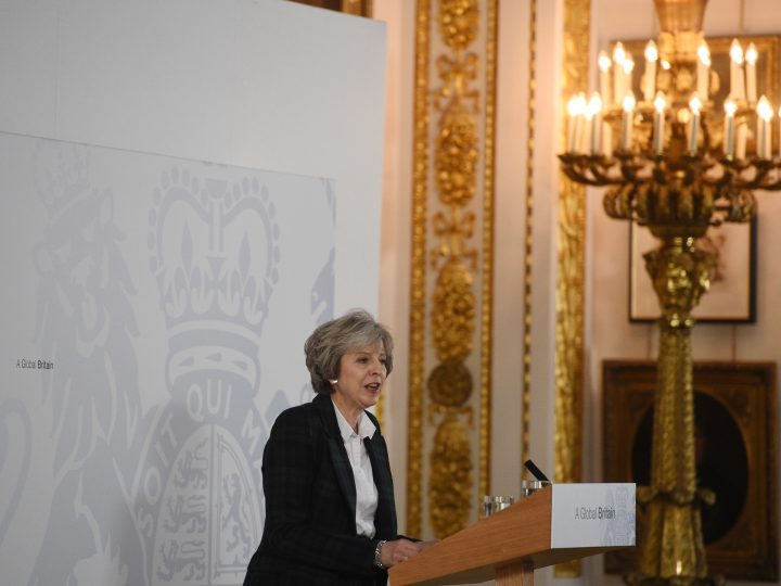 epa05724857 Britain's Prime Minister Theresa May delivers her keynote 'Brexit speech' at Lancaster House in London, Britain 17 January 2017. May was quoted as saying that staying in the single market would keep the UK under the influence of EU law, a move that would be contrary to the result of the referendum on 23 June 2016.  EPA/FACUNDO ARRIZABALAGA / POOL