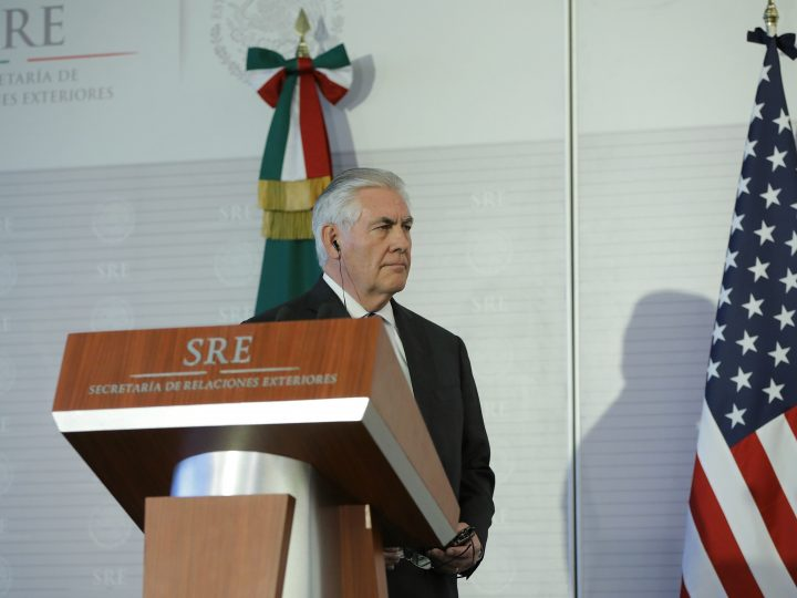 epa05811196 US Secretary of State Rex Tillerson participates in a press conference in Mexico City, Mexico, 23 February 2017. He and US Secretary of Homeland Security John Kelly (not pictured) assured senior representatives of the Mexican government today that there will be no mass deportations or military operations against Mexican immigrants in the United States.  EPA/JOSE MENDEZ .