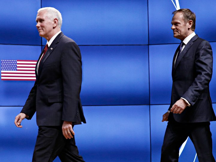 Meeting between US Vice President Mike Pence and Donald Tusk President of the European Council in Brussels, Belgium on Feb. 20, 2017.  U.S. Vice President Mike Pence is currently on a two-day visit to meet with Belgian, EU and NATO officials. / Συνάντηση του Αντιπροέδρου των Ηνωμένων Πολιτειών Αμερικής Μάικ Πενς με τον Πρόεδρο του Ευρωπαϊκού Συμβουλίου στις Βρυξέλλες στις 20 Φεβρουαρίου, 2017