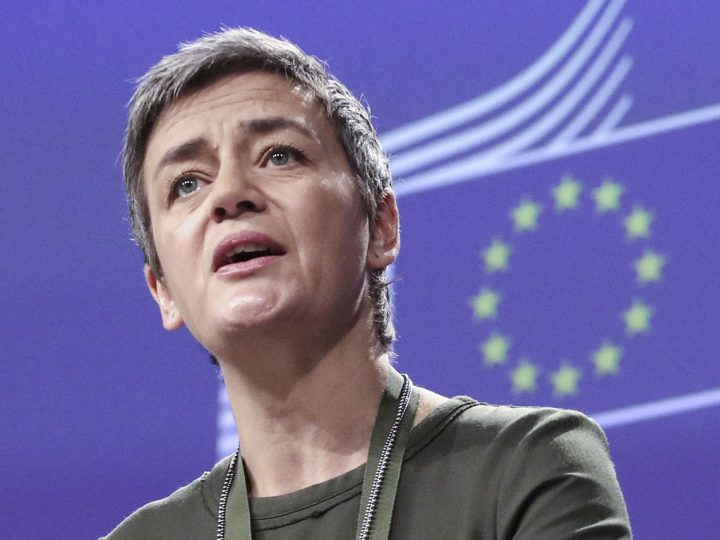 epa05663585 EU Commissioner for Competition, Danish, Margrethe Vestager gives a press conference as European Commission has fined Credit Agricole, HSBC and JPMorgan Chase, a total of 485 million Euros for participating in a cartel in euro interest rate derivatives in Brussels, Belgium, 07 December 2016.  The banks colluded on euro interest rate derivative pricing elements, and exchanged sensitive information, in breach of EU antitrust rules.  EPA/ARIS OIKONOMOU