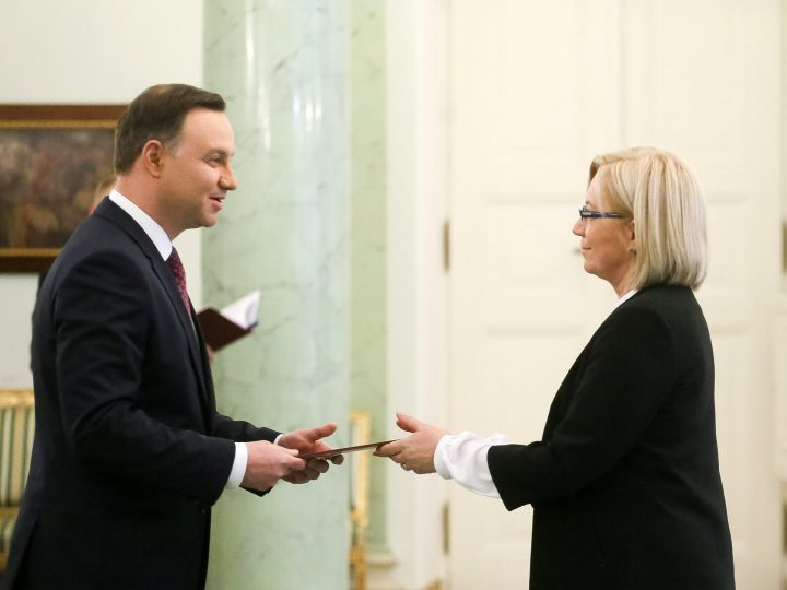 epa05684273 Polish President Andrzej Duda (L) appoints judge Julia Przylebska (R) the new chairperson of the country's Constitutional Tribunal, which is the constitutional court in Poland, in Presidential Palace in Warsaw, Poland, 21 December 2016. The term of Judge Andrzej Rzeplinski, who served as the tribunal's chair since 2010, ended on 19 December 2016.  EPA/PAWEL SUPERNAK POLAND OUT