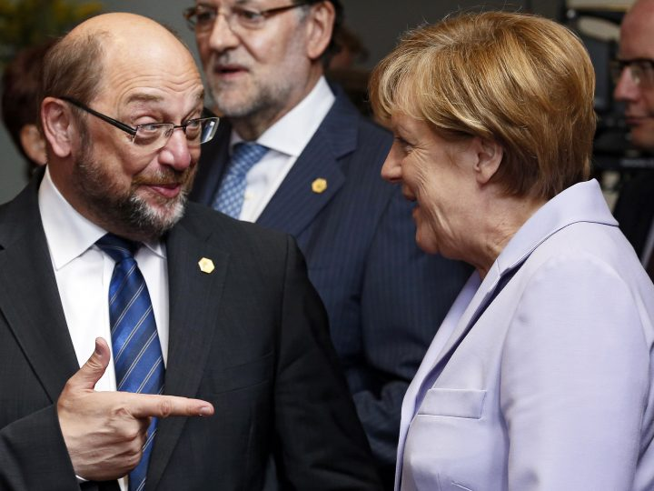 epa05759360 (FILE) - A file picture dated 25 June 2015 shows then European Parliament President Martin Schulz (L) and German Chancellor Angela Merkel (R) at the European heads of state and governments summit at the EU Council headquarters in Brussels, Belgium. Schulz on 29 January 2017 was officially nominated by the Social Democrats (SPD) party chair as SPD's as top candidate to take on Chancellor Merkel in German general elections in September 2017. He is scheduled to be elected as party chairman during a extraordinary party confention in March.  EPA/JULIEN WARNAND