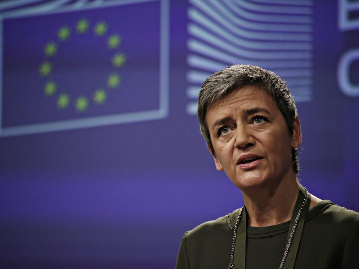 European Commissioner for Competition Margrethe Vestager gives a press conference in Brussels, Belgium on Dec. 7, 2016