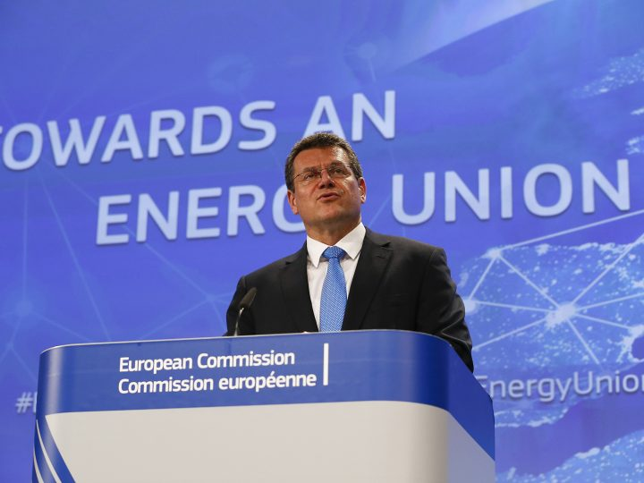 epa04847653 EU Commissioner for Energy Union, Maros Sefcovic, speaks during a news conference on the Energy Union Strategy at the European Commission headquarters in Brussels, Belgium, 15 July 2015. Report states the European Commission presented proposals to deliver a new deal for energy consumers and launch a redesign of the European electricity market, updating energy efficiency labeling and revising the EU Emissions Trading System.  EPA/JULIEN WARNAND