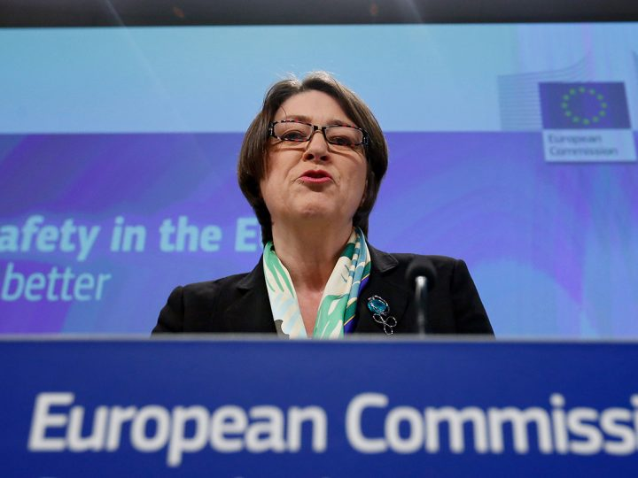 epa05237433 European Commissioner in Charge of Transport Violeta Bulc speaks at a news conference on the 2015 road safety statistics in Brussels, Belgium, 31 March 2016. According to a European Commission press release, road fatalities declined by 17 percent between 2010 and 2015, despite the redution of fatalities slows down. The European Commission comes to the conclusion that European roads remain the safest in the world.  EPA/LAURENT DUBRULE