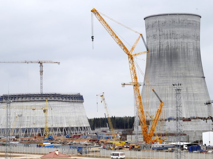 epa05267319 A general view of the construction site of the Belarusian nuclear power plant near the town of Ostrovets, some 180 km from Minsk, Belarus, 19 April 2016. The power plant project consists of two power plants, each capable of 1,200MW, that are currently under construction. The Belarus government expects the first unit to be commissioned at the end of 2018, and the second by July 2020.  EPA/TATYANA ZENKOVICH