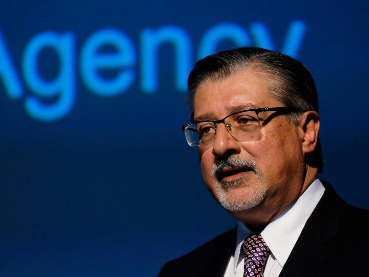 epa05282815 Adnan Z. Amin, Director-General of IRENA (International Renewable Energy Agency), speaks at the Iceland Geothermal Conference  at Harpa Concert hall in Reykjavik, Iceland, 28 April 2016. This year, the conference focuses on advantages of utilising geothermal energy.  EPA/ANTON BRINK HANSEN ICELAND OUT