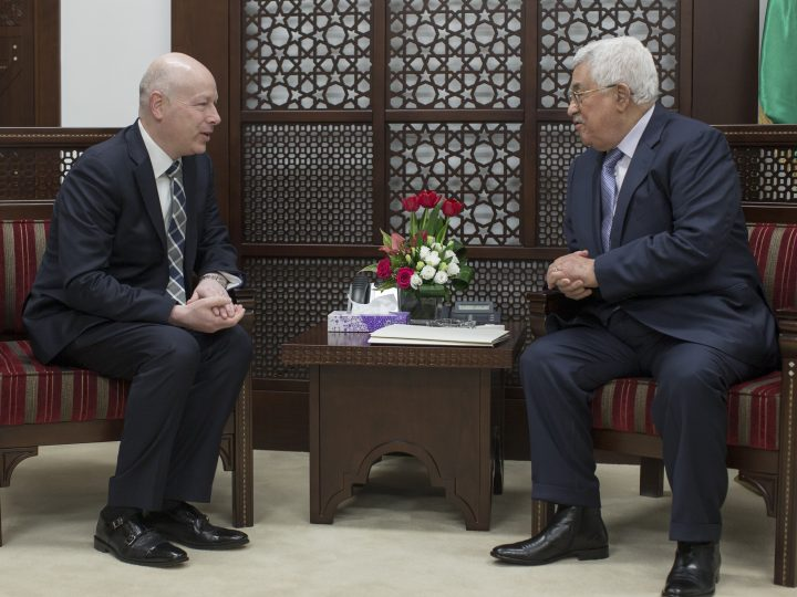 epa05847261 Jason Greenblatt (L), the assistant to the US  President and Special Representative for International Negotiations, meets with the Palestinian President Mahmoud Abbas (R), at Abbas' office, to discuss ways to renew the peace talks between Israeli and the Palestinians, in the West Bank town of Ramallah, 14 March 2017.  EPA/ATEF SAFADI