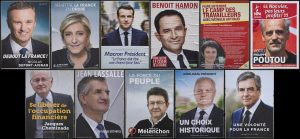 epa05901268 A composite combo photo shows the official campaign posters for all eleven candidates for the 2017 French presidential election candidates, including (clockwise from top left): 'Debout La France' (Stand Up France) political party candidate Nicolas Dupont-Aignan, 'Front National' (FN) political party candidate Marine Le Pen, 'En Marche!' (Onward!) political party candidate Emmanuel Macron, 'Parti Socialist' (PS) political party candidate Benoit Hamon, 'Lutte Ouvriere' (Workers' Struggle) political party candidate Nathalie Arthaud, 'Nouveau Parti Anticapitaliste (NPA)' (New anticapitalist Party) political party Philippe Poutou, 'Solidarite et Progres (Solidarity and Progress) political party Jacques Cheminade, The official campaign poster for 2017 French presidential election independent candidate Jean Lassalle, 'La France Insoumise' (Undefeated France) candidate Jean-Luc Melenchon, 'Union Populaire Republicain' (Popular Republican Union) political party candidate Francois Asselineau, and 'Les Republicains' (LR) political party Francois Fillon, seen in Paris, France, 10 April 2017. The French presidential election is scheduled for 23 April and 07 May 2017. EPA/IAN LANGSDON