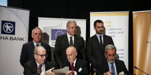 Left to right, front row, George Aronis, Deputy CEO of Greek Alpha Bank, Pier Luigi Gilibert, Chief Executive of the European Investment Fund (EIF), Ilias Milis, General Manager of Piraeus Bank, and, rear row, Giannis Dragasakis, Greek Deputy Prime Minister, Dimitris Avramopoulos, Member of the EC in charge of Migration and Alexis Charitsis, Greek Deputy Minister of Economy, are pictured during a signing agreement in Athens, on April 27, 2017.