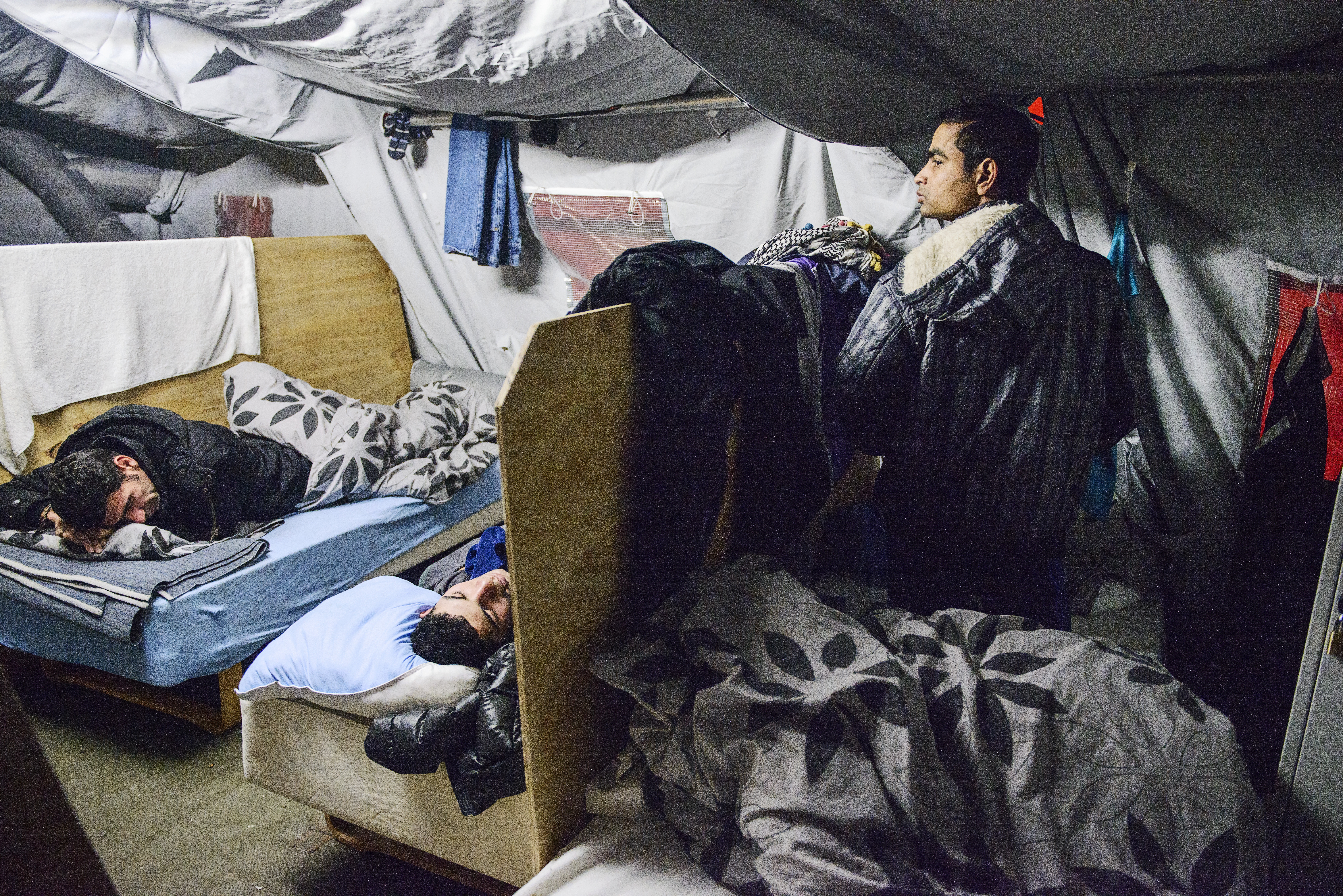 A file photo dated 13 January 2016 showing refugees in their beds at the refugee tent c& in Thisted northern Jutland Denmark. & More refugees find jobs in Denmark