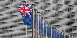 epa05853857 (FILE) - A file picture dated 26 January 2016 shows a British Union flag flutters next to European Union (EU) flags ahead avisits of then British Prime Minister Cameron at the European Commission in Brussels, Belgium. Britain is the first-ever country to leave the EU after a narrow majority voted to leave in a UK-wide referendum held on 23 June 2016. The 60th anniversary of the signing of the Treaty of Rome is marked on 25 March 2017. The treaty was signed on 25 March 1957 at Campidoglio Palace in Rome by Belgium, France, Italy, Luxembourg, the Netherlands and West Germany to form the European Economic Community (ECC). It continues to be one of the most important ones in the history of the European Union (EU).  EPA/LAURENT DUBRULE