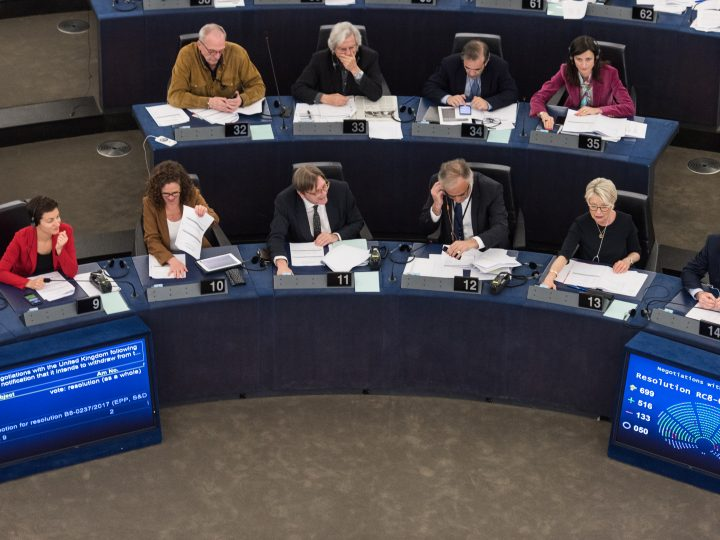 epa05889649 Members of parliament take part in a meeting of the European Parliament in Strasbourg, France, 05 April 2017. The parliament is holding a key debate on Brexit negotiations.  EPA/PATRICK SEEGER