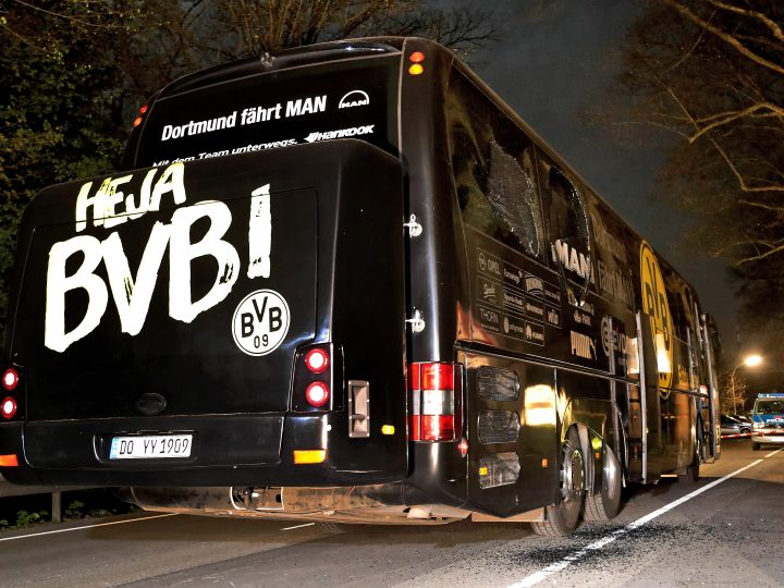 epa05918586 (FILE) The team bus of German soccer club Borussia Dortmund is seen on a street after it was hit by three explosions in Dortmund, Germany, 11 April 2017 (reissued 21 April 2017). Media reports on early 21 April 2017 state that a suspect in connection with the explosives attack on the club bus has been arrested near Tuebingen, Germany. The German General Prosecution is set to hold a media conference about the developments in the investigations of the attack, in Karlsruhe later on 21 April.  EPA/FRIEDEMANN VOGEL