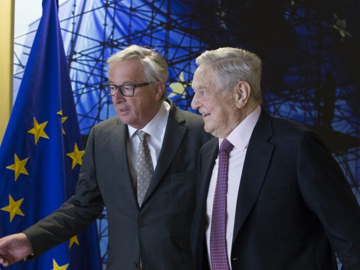 epa05930386 EU commission President Jean-Claude Juncker (L) welcomes George Soros, Founder and Chairman of the Open Society Foundations prior to a meeting in Brussels, Belgium, 27 April 2017. The meeting will mainly focus on  the situation in Hungary, including legislative measures that could force the closure of the Central European University in Budapest, media reported.  EPA/OLIVIER HOSLET / POOL