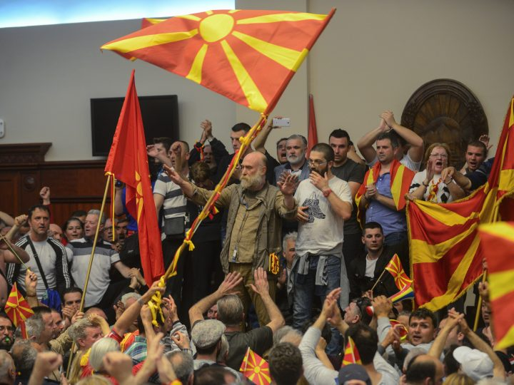 epa05931529 Protestors storm the Parliament after Social Democratic Union of Macedonia with Albanian parties elected new President of the Parliament Talat Dzaferi (not pictured) as they have parliamentary majority, in Skopje, The Former Yugoslav Republic of Macedonia on 27 April 2017. President Ivanov didn't give the mandate for a new government,  Although Zoran Zaev (the leader of SDSM) provided a list of signatures, guaranteeing parliamentary majority he rejected giving him the mandate with explanation that the coalition between Zaev and the Albanian parties (with their platform for two official languages in the country) would destroy the constitutional order in the country.  EPA/MAJA ZLATECSKA