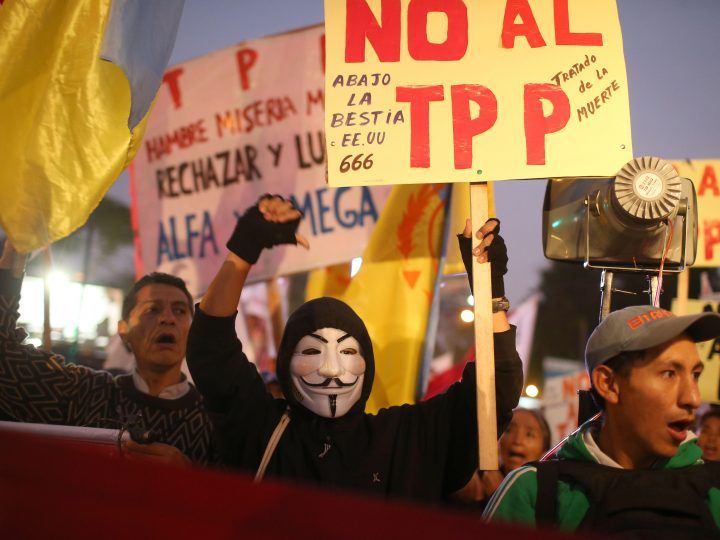 epa05618347 Members of social and civil organizations march to protest against the Trans-Pacific Partnership (TPP) Agreement in Lima, Peru, 04 November 2016. Hundreds of protesters rallied in Lima to protest against the TPP. The trade agreement was signed in February 2016, between twelve Pacific Rim countries, including Peru and the USA.  EPA/ERNESTO ARIAS