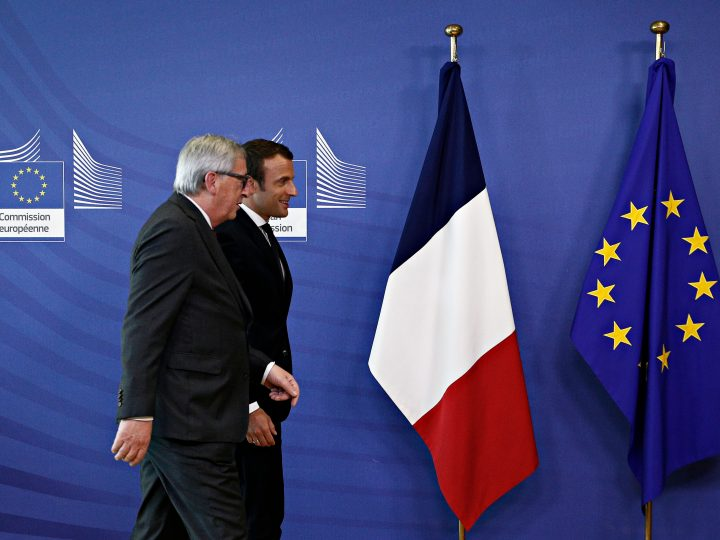 President of France Emmanuel Macron meets the European Commission President Jean-Claude Juncker  at the EU Commission headquarters in Brussels, Belgium on May 25, 2017 New Europe / Alexandros Michailidis
