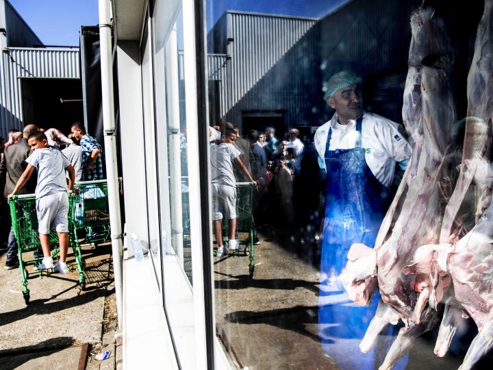 epa05536473 An employee stands near slaughtered animals whilke customers wait outside the Yakhlaf slaughterhouse to pick up their pre-ordered meat for the 'Feast of Sacrifice' (Eid al-Adha), in Zaamdam, The Netherlands, 12 September 2016. Eid al-Adha is the holiest of the two Muslims holidays celebrated each year, it marks the yearly Muslim pilgrimage (Hajj) to visit Mecca, the holiest place in Islam. Muslims slaughter a sacrificial animal and split the meat into three parts, one for the family, one for friends and relatives, and one for the poor and needy.  EPA/ROBIN UTRECHT