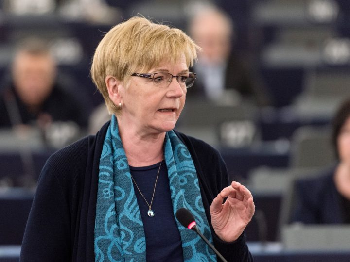 epa05889509 Gabi Zimmer, President of the European United Left - Nordic Green Left (GUE/NGL) political group of European Parliament, delivers her speech using sign language during a meeting of the European Parliament in Strasbourg, France, 05 April 2017. The parliament is holding a key debate on Brexit negotiations.  EPA/PATRICK SEEGER