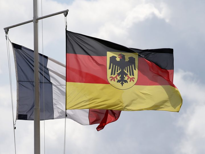 epa05941943 Flag of France and Germany wave at the Quartier Leclerc in Illkirch, France, 03 May 2017. German Defense Minister Ursula von der Leyen is to visit the Illkirch barracks following reports Nazi memorabilia and symbols such as swastikas were found in the premises during investigation to an alleged far-right terror cell in German defense forces. Media reports state German lieutenant Franco A. who was stationed at the Illkirch barracks was arrested on terror allegations in Hammelburg, Germany, last week as part of ongoing investigations. German investigators allege up to five persons may have been involved in the cell.  EPA/RONALD WITTEK