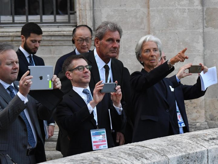 epa05960353 Managing Director of the International Monetary Fund, Christine Lagarde (R), gestures during a visit in Matera, European Capital of Culture for 2019, in the context of the G7 Ministerial Meeting on Finance in Bari, Italy, 12 May 2017. The G7 Finance Ministers and Central Bank Governors meeting, that will also be attended by the European Commissioner for Economic and Monetary Affairs, the President of the Eurogroup and the President of the European Central Bank as well as the Heads of the major International Organizations, takes place in Bari from 11 to 13 May 2017.  EPA/CIRO FUSCO