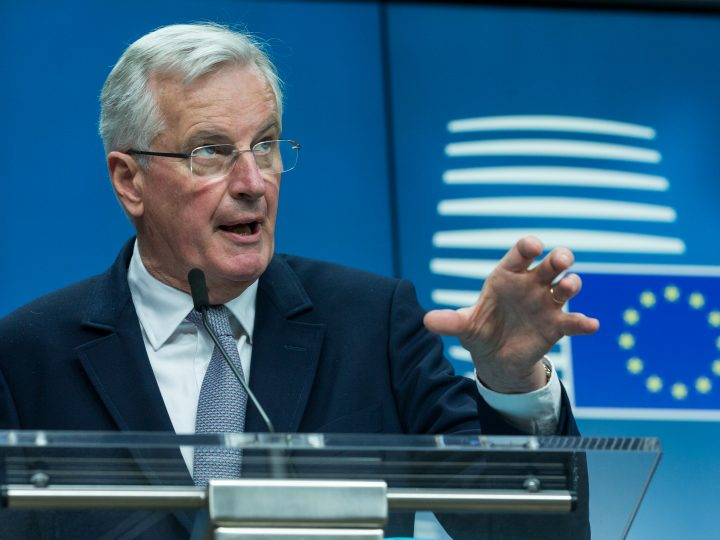 epa05981304 Michel Barnier, the European Chief Negotiator of the Task Force for the Preparation and Conduct of the Negotiations with the United Kingdom under Article 50, dubbed the 'Brexit', speaks at a news conference at the end of the EU General Affairs Council meeting on the Article 50, at the EU Council in Brussels, Belgium, 22 May 2017.  EPA/STEPHANIE LECOCQ