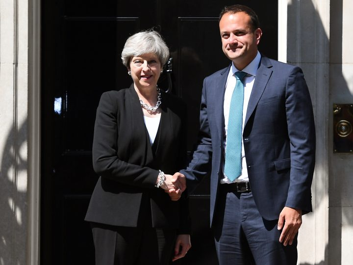 epa06037319 British Prime Minister Theresa May (L) welcomes Irish new Taoiseach Irish Prime Minister Leo Varadkar (R) to 10 Downing Street in London, Britain, 19 June 2017. Taoiseach Irish Prime Minister Leo Varadkar on a first foreign visit meets with British PM May to discuss Brexit negotiations which started today.  EPA/ANDY RAIN