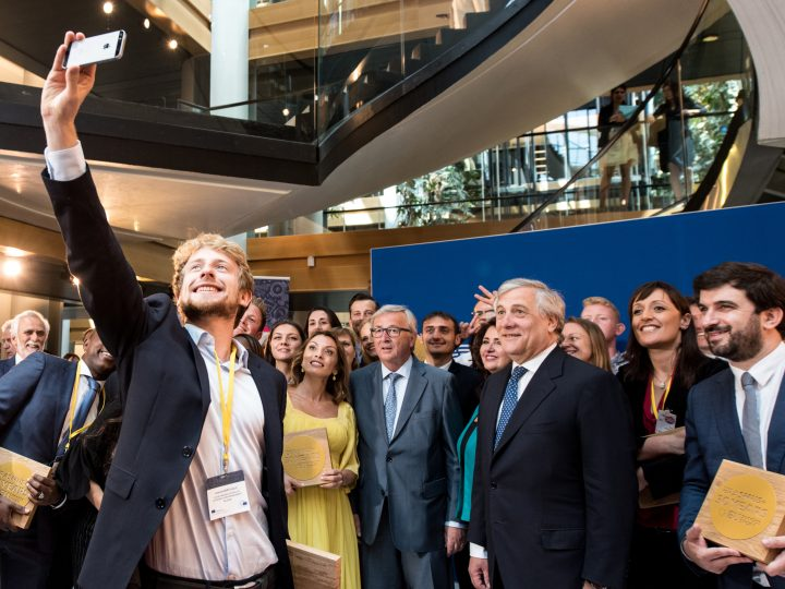 epa06025853 Erasmus students take a selfie picture with European Commission President Jean-Claude Juncker (L) and President of the European Parliament Antonio Tajani (R) after the Erasmus 30th Anniversary celebrations at the European Parliament in Strasbourg, France, 13 June 2017. The Erasmus Programme (European Region Action Scheme for the Mobility of University Students) is European Uniion student exchange programme established in 1987.  EPA/PATRICK SEEGER