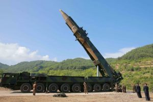 epa06064781 A handout photo made available by the official North Korean Central News Agency (KCNA) allegedly shows the North Korean inter-continental ballistic rocket Hwasong-14 being prepared before a test launch at an undisclosed location in North Korea, 04 July 2017. According to media reports, North Korea launched a ballistic missile on 04 July, that flew around 930km towards the Sea of Japan. The missile fell into Japan's exclusive economic zone in the Sea of Japan, according to Japanese Chief Cabinet Secretary Yoshihide Suga. North Korea said that it has successfully tested an intercontinental ballistic missile (ICBM). EPA/KCNA HANDOUT EDITORIAL USE ONLY