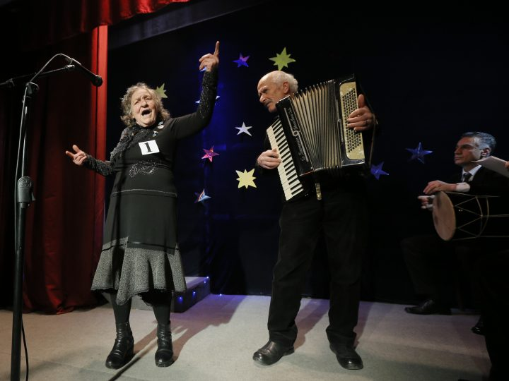 epa05699416 Georgian pensioners perform during a talent show at the charity house 'Katharsis' in Tbilisi, Georgia, 05 January 2017. The contest takes place every year before Orthodox Christmas and gives a chance to elderly actors but also opera and pop singer to show off their talents.  EPA/ZURAB KURTSIKIDZE